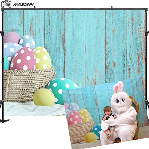 Maijoeyy 7x5ft Easter Backdrop Spring Backdrops for Photography Blue Wood Easter Photo Backdrop for Pictures Baby Newborn Children Easter Party Decorations Photography Props -