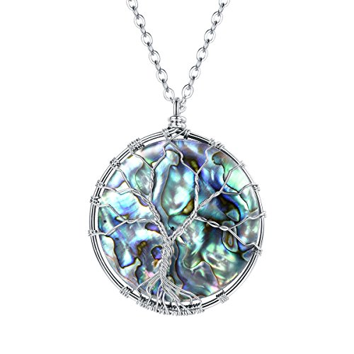 FOCALOOK Abalone Paua Shell Tree of Life Stainless Steel Wire Wrapped Round Pendant Necklace for Women