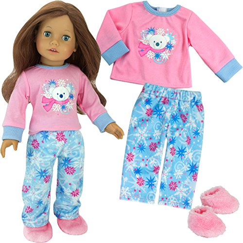 Polar Bear Winter Doll Pajamas for 18 Inch Dolls, 3 Piece Snowflake Set Includes Slippers from Sophia's