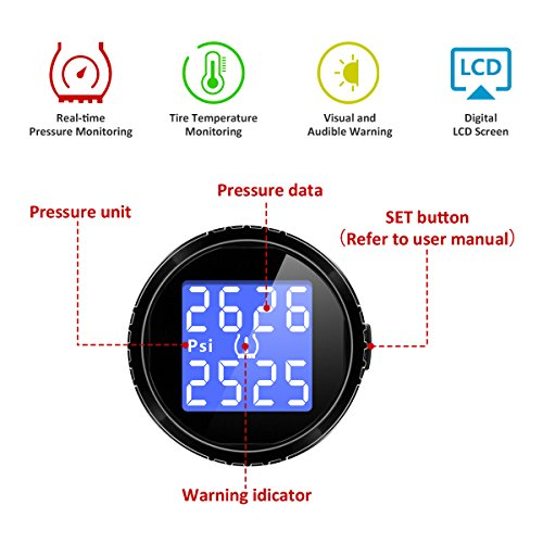 YOKARO Wireless TPMS Tire Pressure Monitoring System with Pressure and Temperature Display for Cars, Trailer, and 4 wheeled Vehicles, 4 External Cap Sensors by YOKARO (Image #2)