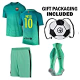JerzeHero Barcelona Messi #10 Soccer Gift Set ✓ Youth or Adult Sizes ✓ Soccer Jersey ✓ Shorts ✓ Ball Drawstring Bag ✓ Home or Away