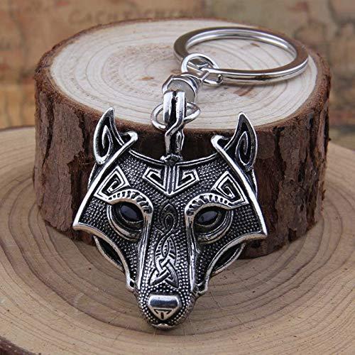 con Bolsa de Regalo Llavero con dise/ño de Lobo Vikingo y Runa n/órdica British Keychains