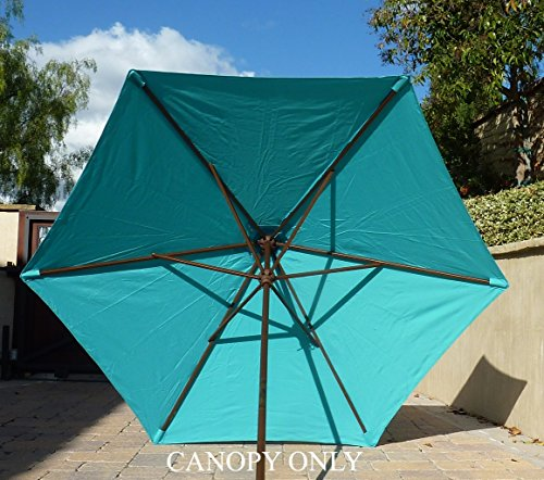 Formosa Covers 9ft Umbrella Replacement Canopy 6 Ribs in Turquoise Olefin Canopy Only