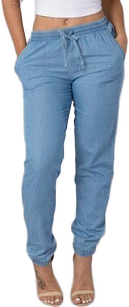Pantalones Vaquero para Mujer Otoño Invierno 2018 Moda PAOLIAN Casual Pantalones Vestir Tallas Grandes Suelto Fiesta Pantalones Cintura Alta con Pretina Elástica Baggy Señora