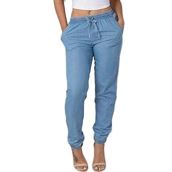 Amuster Damen Leinenhose Leichte Sommerhose Tunnelbund mit Gummizug Frauen Elastische Taille Freizeithosen Hohe Taille Jeans beiläufige Blau