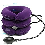 Inflatable Cervical Neck Traction Device/Neck Support Brace/Cervical Collar Adjustable (Purple)