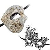 Phantom of Opera Design Venetian Masquerade Party Mask Silver Black Series Couple Mask Sets (Sv7)