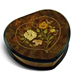Heart Shaped Floral Wood Inlay Musical Jewelry Box - You're Nobody Til Somebody Loves You