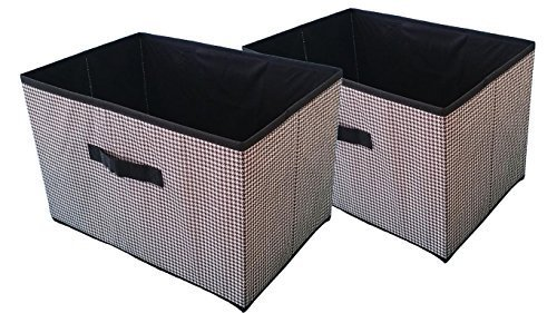 Set of 2 Large Fabric Collapsible Containers Storage Closet Organizers Bins (Ex Large - No Lid)