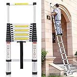 Quieting 3.2M Multi-Purpose Aluminium Telescopic Ladder DIY Portable Foldable Extension Ladder