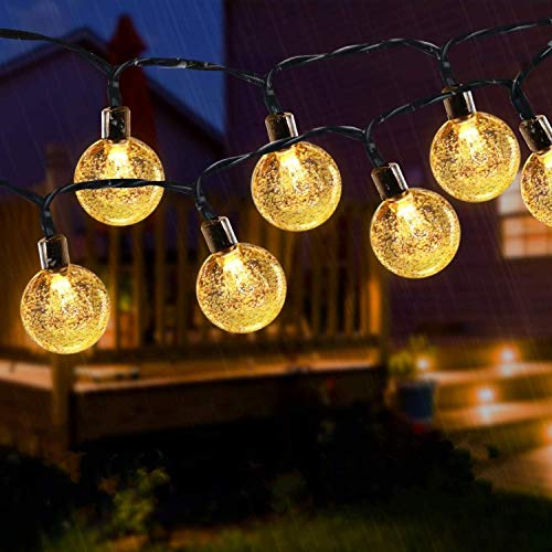 Solar String Lights Outdoor , 50LED Globe Fairy Waterproof Lights , 8 Mode 7M/24Ft Indoor/Outdoor Solar String Lights for Garden, Patio Yard, Home ,Christmas ,Parties ,Wedding