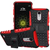LG K4 2017 Case, OEAGO LG K4 2017 Case [Shockproof] [Impact Protection] Tough Rugged Dual Layer Protective Case with Kickstand for LG K4 (2017) - Hot Red