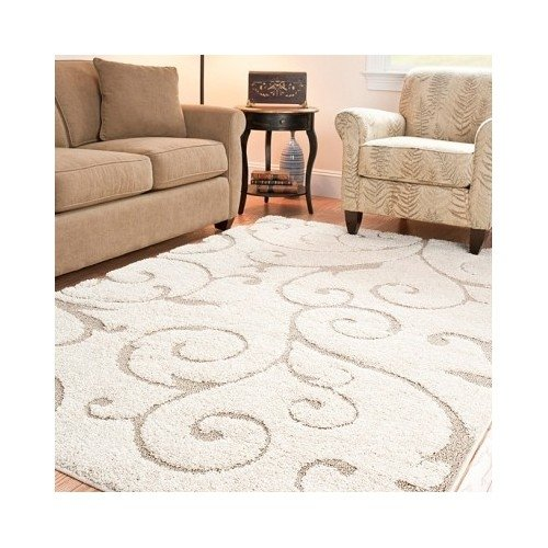 Ultimate Soft Cushioned Cream/Beige/Ivory Shag Area Rug 5'3