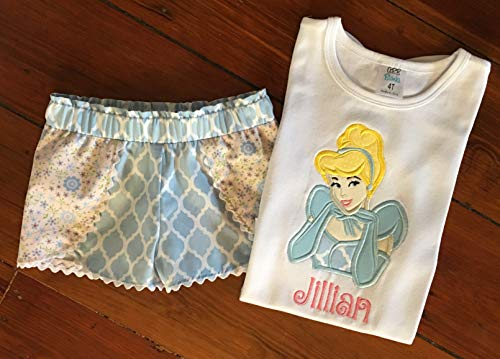 Girls Personalized Cinderella Shirt and Shorts Little Girls Cinderella Applique Top and Shorts Custom Cinderella Outfit ()