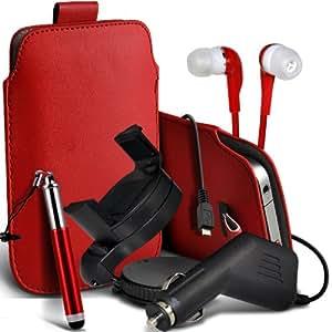 Nokia Lumia 635 premium protección PU ficha de extracción Slip In Pouch Pocket Cordón piel con lápiz óptico retráctil, Jack de 3,5 mm auriculares auriculares auriculares, cargador de coche USB Micro 12v y 360 Sostenedor giratorio del parabrisas del coche cuna Red por Spyrox