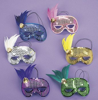 Fun Express - Mardi Gras Sequin and Feather Asst Masks for Mardi Gras - Apparel Accessories - Costume Accessories - Masks - Mardi Gras - 12 Pieces (Feather Masks Assorted)