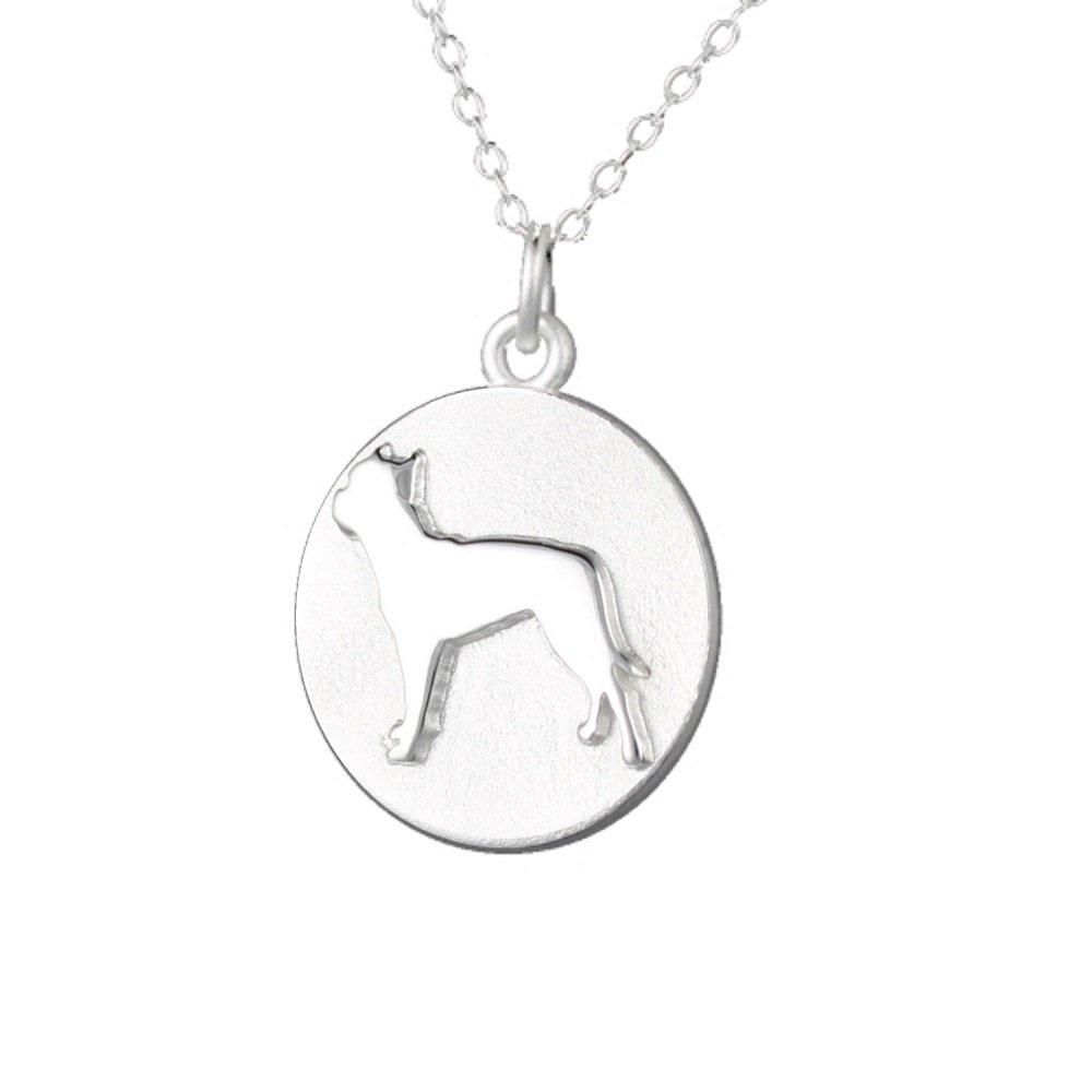 Mochi & Jolie Silver Pendant Necklace, Pit Bull