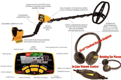 -  Garrett Ace 350 Handheld Metal Detector  DD Coil + Headphones