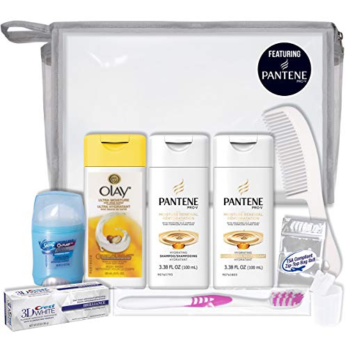 Convenience Kits International Women's 10-Piece Deluxe Kit with Travel Size TSA Compliant Essentials, Featuring: Pantene…