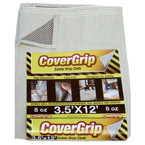 CoverGrip 351208 8 oz Canvas Safety Drop Cloth, 3.5' x 12' by CoverGrip