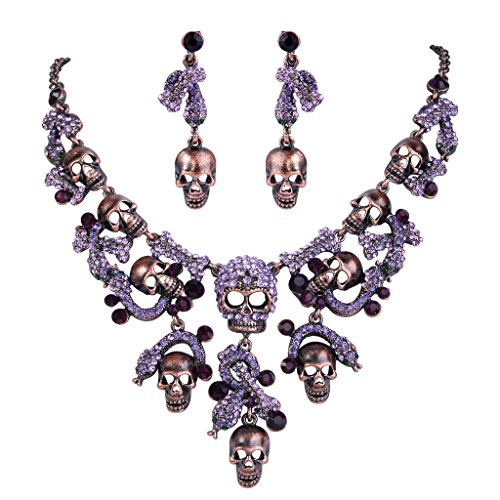 EVER FAITH Austrian Crystal Halloween Skull Snake Necklace Earrings Set Purple Copper-Tone