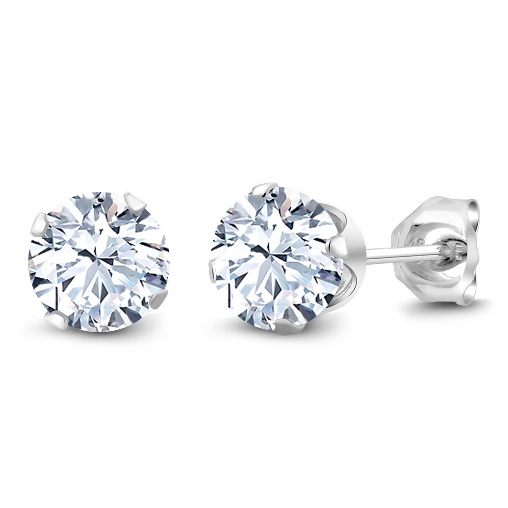 Gem Stone King 2.30 Ct 6mm Hearts & Arrows White Created Sapphire Sterling Silver Stud Earrings