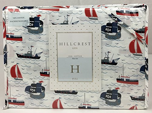 HILLCREST KIDS 100% Cotton FULL Sheet Set Red Blue Grey on White Sailing Boats, Pirate Ships, Sea Crafts