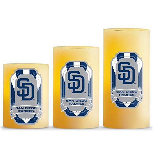 Duck House MLB San Diego Padres LED Light Candle Gift Set (3 Piece), Small, (San Diego Padres 3 Piece)