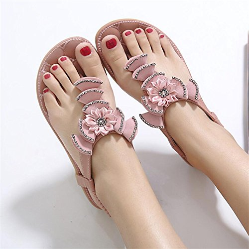 Sandalias planas de verano femenino acuarela sandwich flores retro zapatos pie calzado de playa Rosa