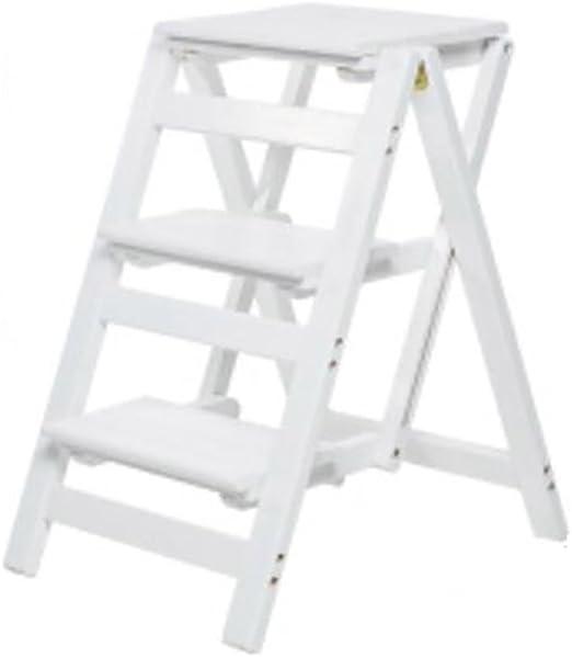 LIZITD Taburete Escalera Taburete Escalera, Madera Maciza Europeo Minimalista Blanco, Escalera Plegable hogar Escalera Taburete Escalera Escalera móvil multifunción Escalera pequeña multifunción: Amazon.es: Hogar