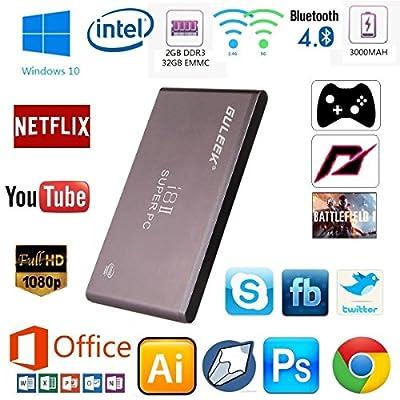 Guleek I8ii Pocket Wintel Mini Pc Desktop Computer Tv Box Windows10 Xbmc Media Player with Intel Atom Z3735f Quad-core Cpu 2gb Ddr3 32gb Emmc 2.4&5.8ghz Wifi Bluetooth 4.0 Built-in Battery Metal Case
