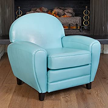 Exceptional Hayley Teal Blue Leather Club Chair