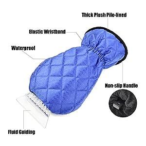 EZYKOO 2 Pack Ice Scraper Mitts Waterproof Window/Windshield Snow Scraper Glove Snow Ice Scraper Car Truck-Blue