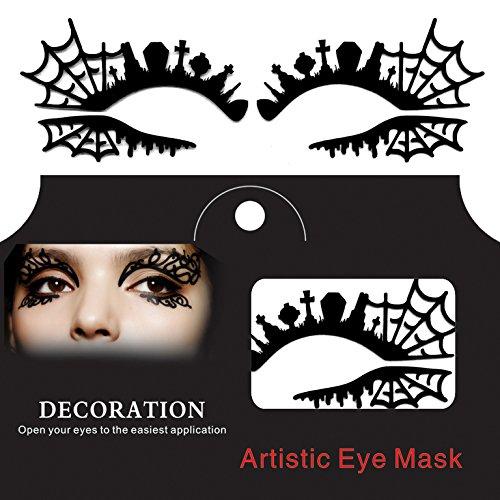 Laliva Makeup Fashion - Tomb Cross Spider Web Halloween Eye Tattoo Sticker Lace Fretwork Papercut Masquerade - Eyelash - Brushes Set -