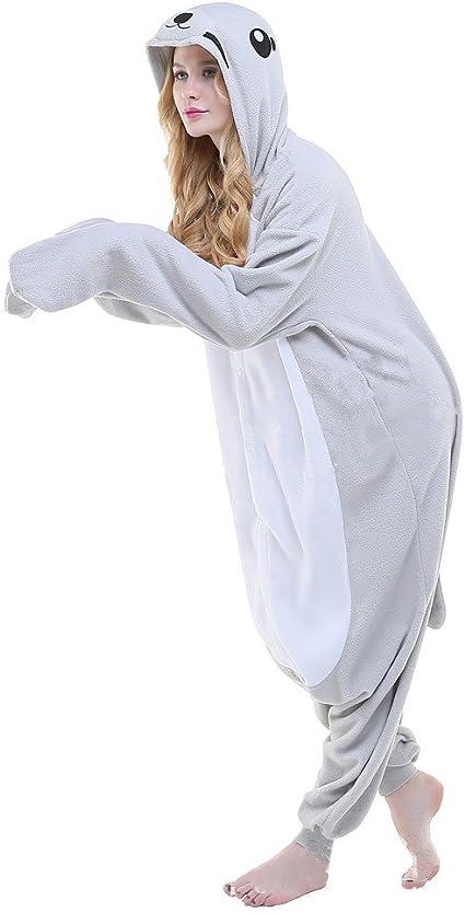 Pijama o disfraz de cuerpo entero de unicornio hecho de forro polar para niños y adultos de Colourfulworld, seal, large