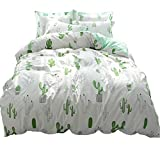 Cactus Printed Kids Bedding Duvet Cover Set Twin Reversible 100% Cotton Comforter Cover White Green Children Plant Duvet Cover with 2 Pillow Shams,3 Piece Twin Bed Girls Bedding Cover Set,Cactus