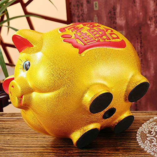 11'' Gold Pig Lucky Porcelain Fortune Pig Money Box Piggy Bank by FANCY PUMPKIN (Image #3)
