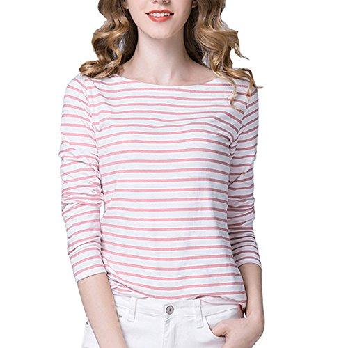 Tulucky Women's Casual Long Sleeve Shirts Stripe Tees Round Neck Tank Tops (M, (Round Neck Long Sleeve Top)