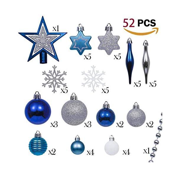 Valery Madelyn Palle di Natale 52 Pezzi di Palline di Natale, 3-5 cm Auguri Invernali Argento e Blu Infrangibili Ornamenti Palla di Natale Decorazione per la Decorazione Dell'Albero di Natale 2 spesavip