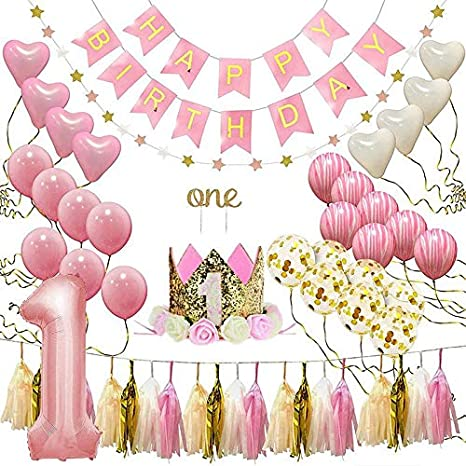 Amazon.com: Geggur 1st First Birthday Decoration Baby Girl ...