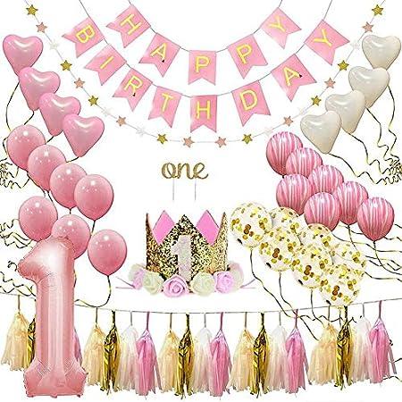 Decoración de Cumpleaños 1 año Globos Happy Birthday Bandera Balloons Partido Suministros para Niña Bebé Princesa Rosado Tema