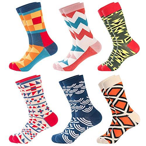 Bonangel Men's Fun Dress Socks - Colorful Funny Novelty Crazy Crew Socks Packs with Cool Argyle Pattern (Totem 1)