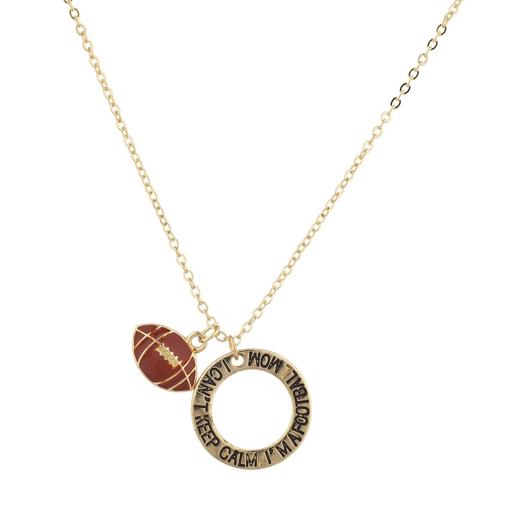 Lux Accessories Gold I Can't Keep Calm I'm Football Mom Charm Pendant Necklace N250812-2-N134
