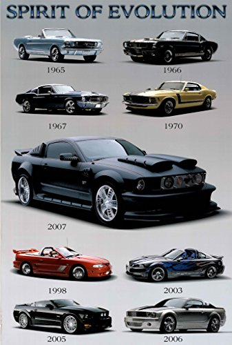 Mustang Spirit of Evolution Sports Classic Car Maxi Poster 24x36 Mustang Evolution Poster