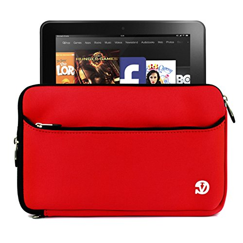 Red Neoprene Sleeve Case with Hand Strap for All New Amazon Kindle Fire HD 10 Inch Travel Essential