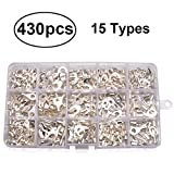 430pcs 15 in 1 Non-Insulated Crimp Connectors, Premium Ring/Fork U-type Female Terminals Assortment Kit, Best Cable Wire Connector, Spade Electric Wire Terminal with Storage Case for DIY by MILAPEAK