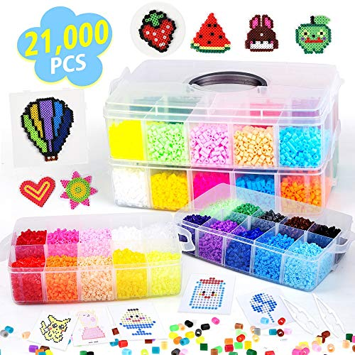 Fuse Beads, 21,000 pcs Fuse Beads Kit 22 Colors 5MM for Kids, Including 8 Ironing Paper,48 Patterns, 4 Pegboards, Tweezers, Perler Beads Compatible Kit by INSCRAFT -