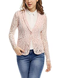 Women's Shawl Collar See Through Floral Lace Blazer Jacket