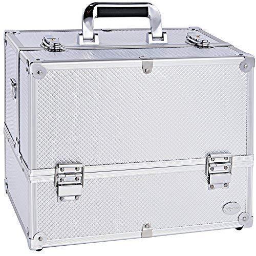"14"" Makeup Train Case Large 6 Tray Professional Organizer Bo"