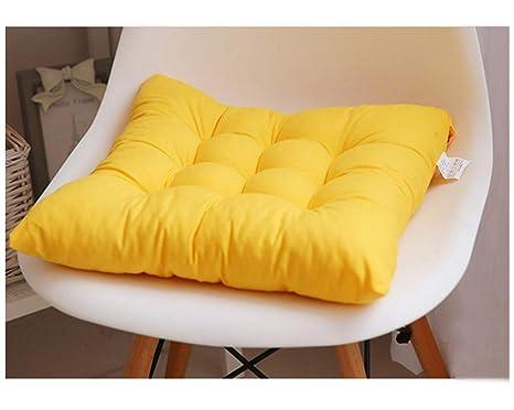 GELing Cojines para Silla Espesar Transpirable Cojín Cuadrado para Sala De Estar Dormitorio Oficina Amarillo 45X45CM
